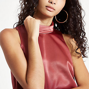 Copper chiffon roll neck sleeveless top