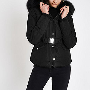 Black faux fur belted puffer jacket