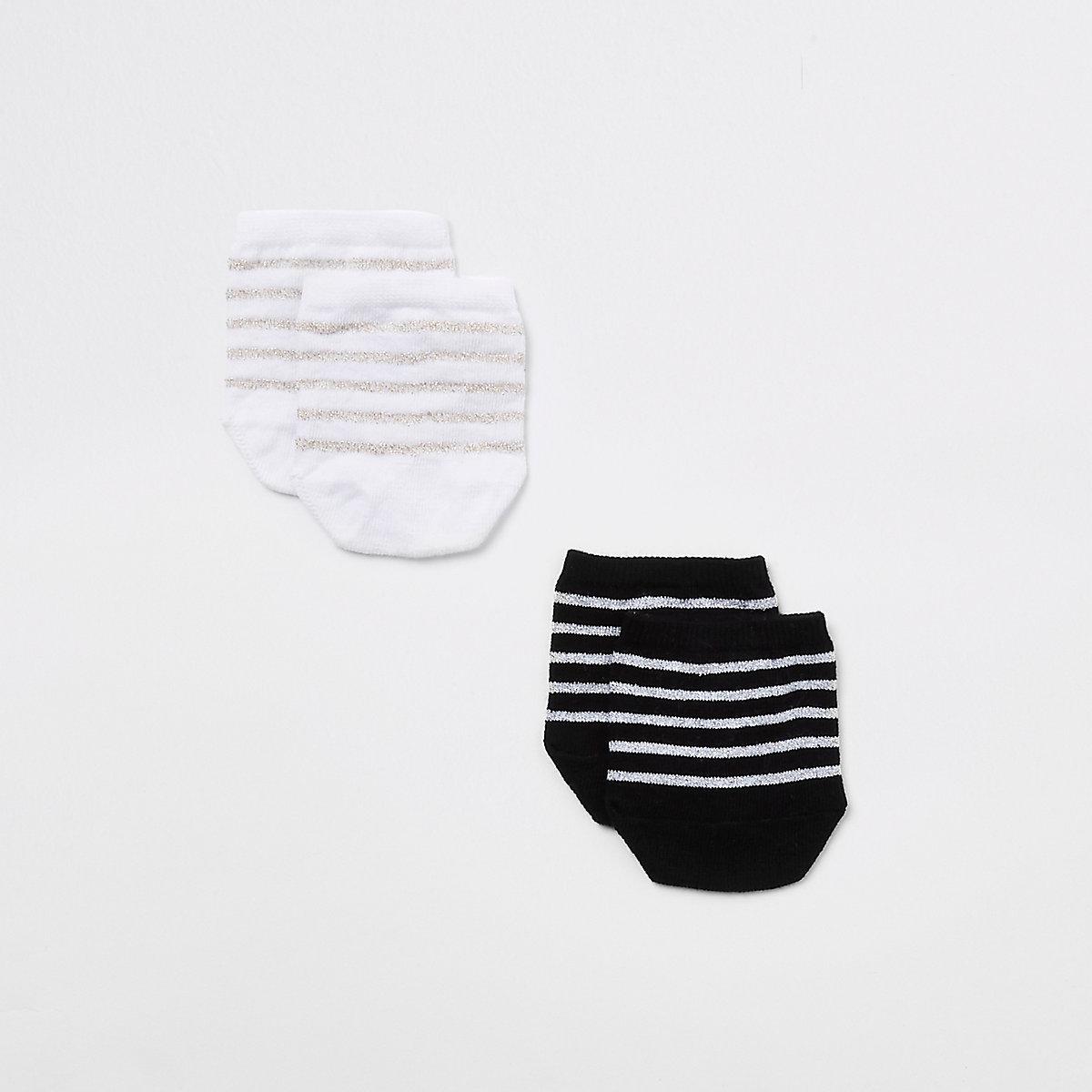 Multipack zwarte sokken met gestreepte tenen