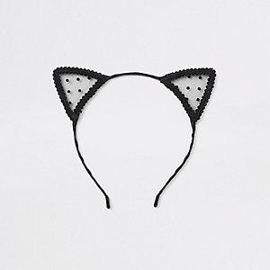 Black polka dot lace cat ears headband