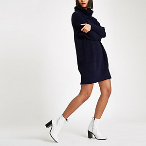 Navy knit oversized roll neck jumper