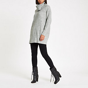 Light grey knit roll neck sweater dress