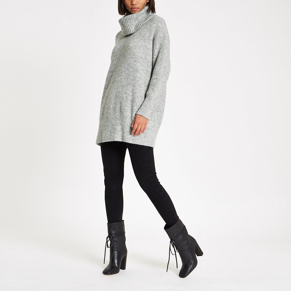 Light grey knit roll neck jumper dress