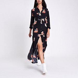 Robe longue à chemisier imprimé à fleurs noir