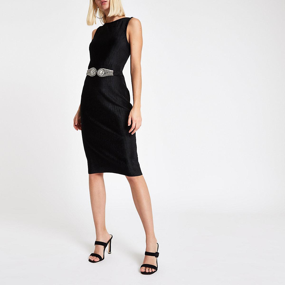 Black velvet plisse belted bodycon midi dress