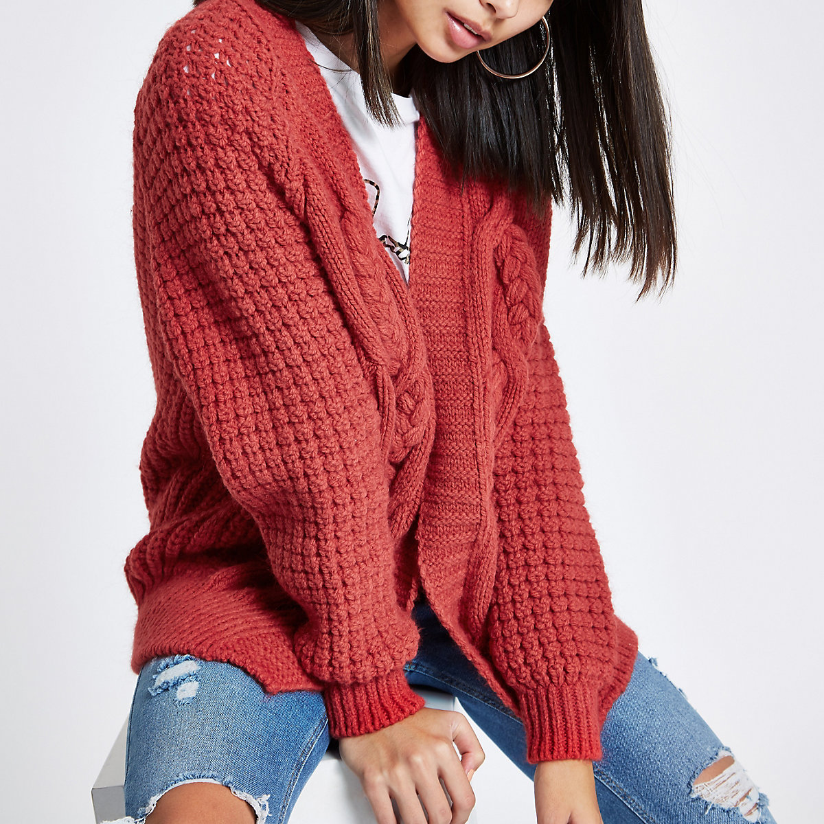 Coral pink cable knit cardigan