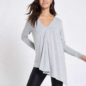 Light grey long sleeve drape top