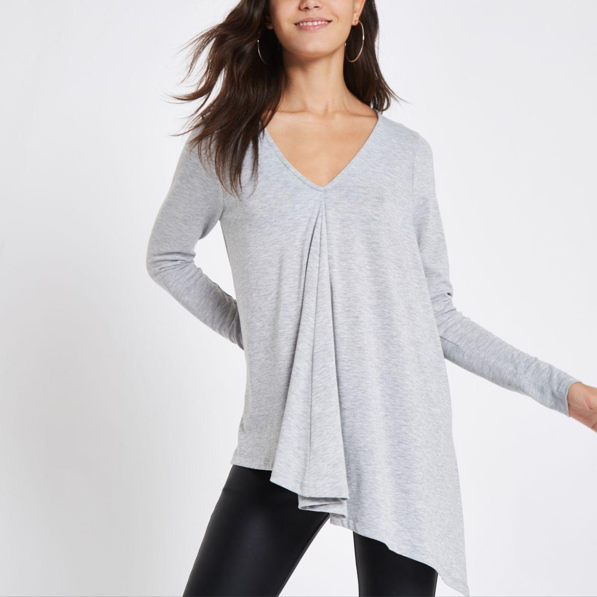 Light grey long sleeve drape top