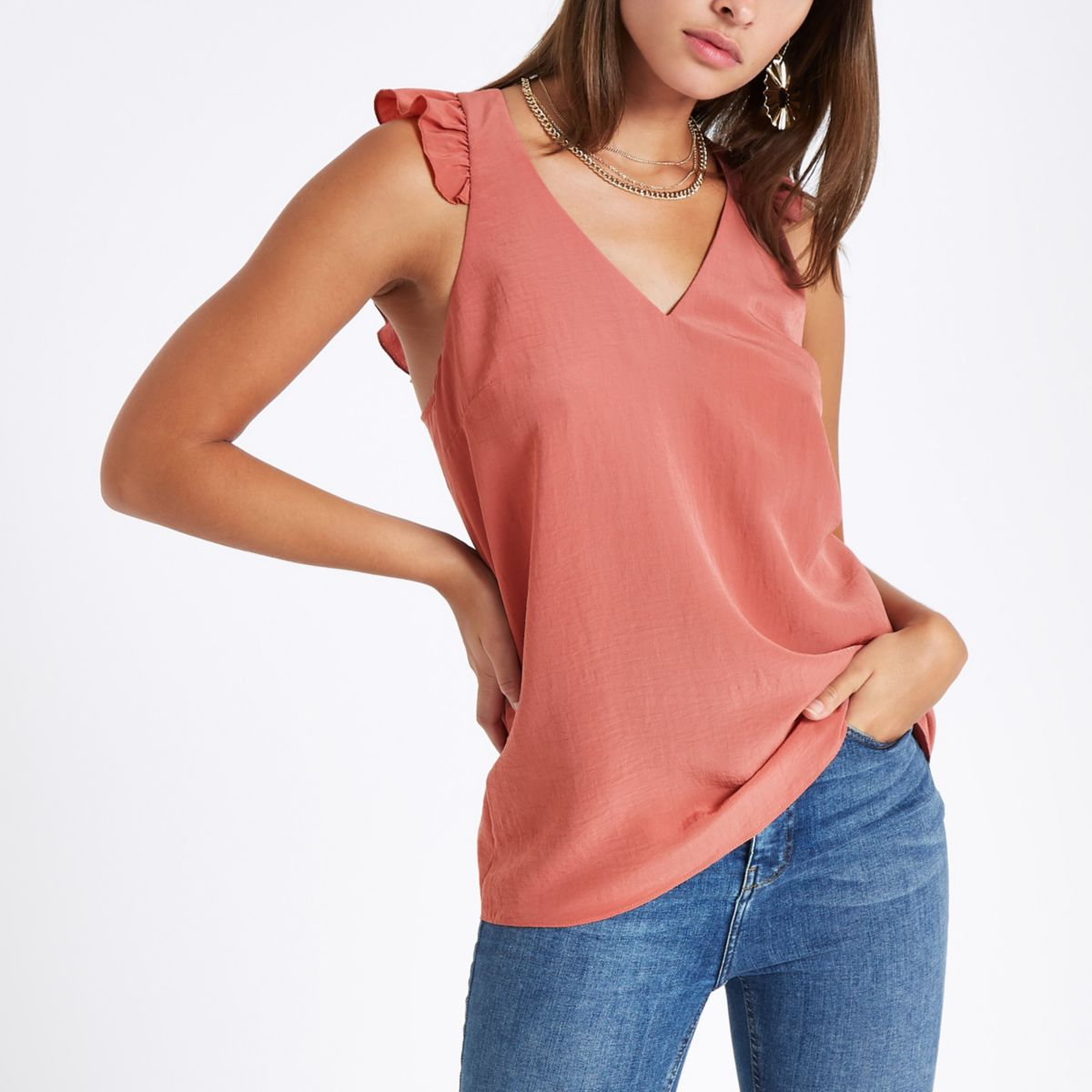 Coral frill shoulder and back sleeveless top