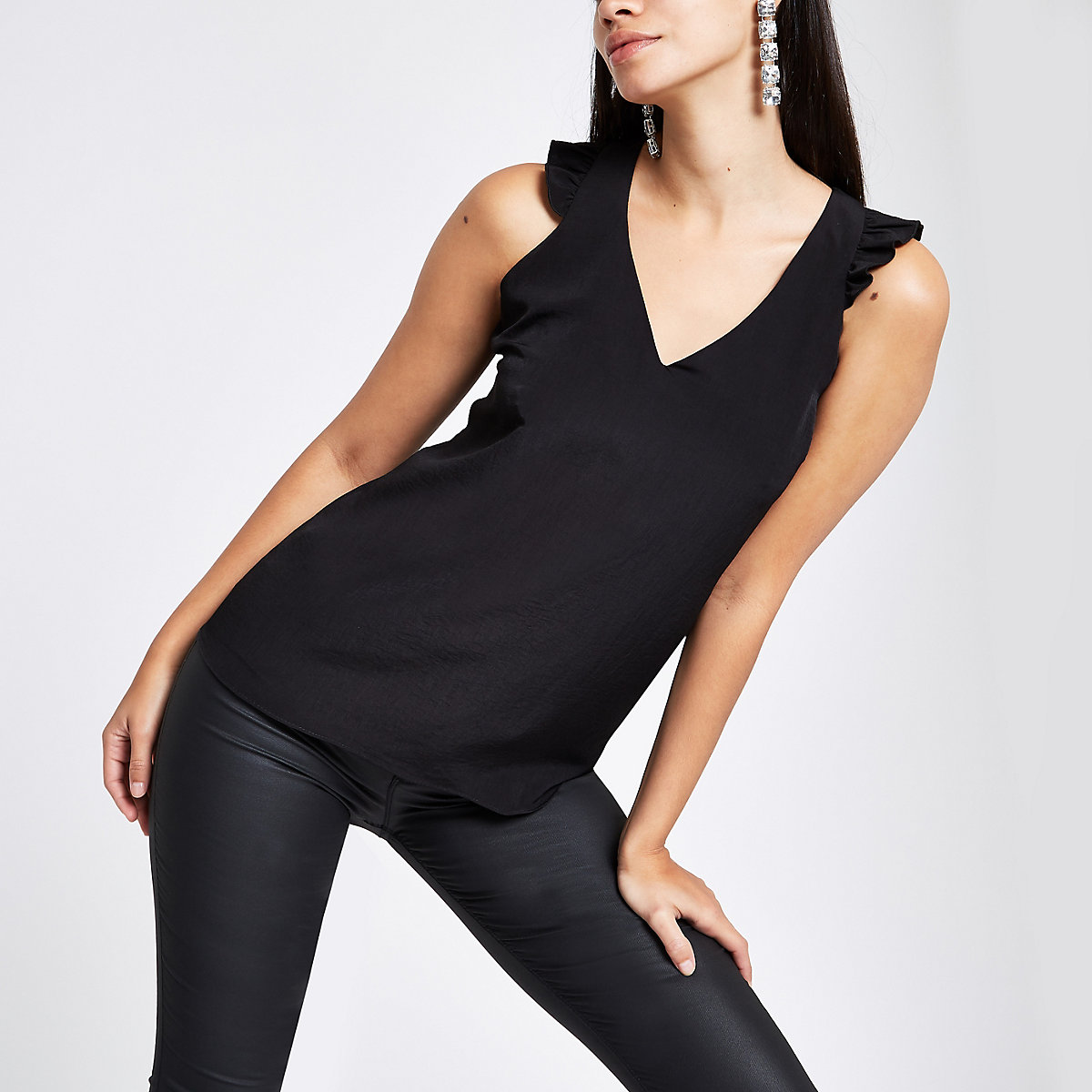 Black frill shoulder and back sleeveless top