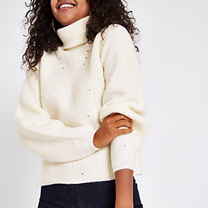 Cream knit roll neck sweater