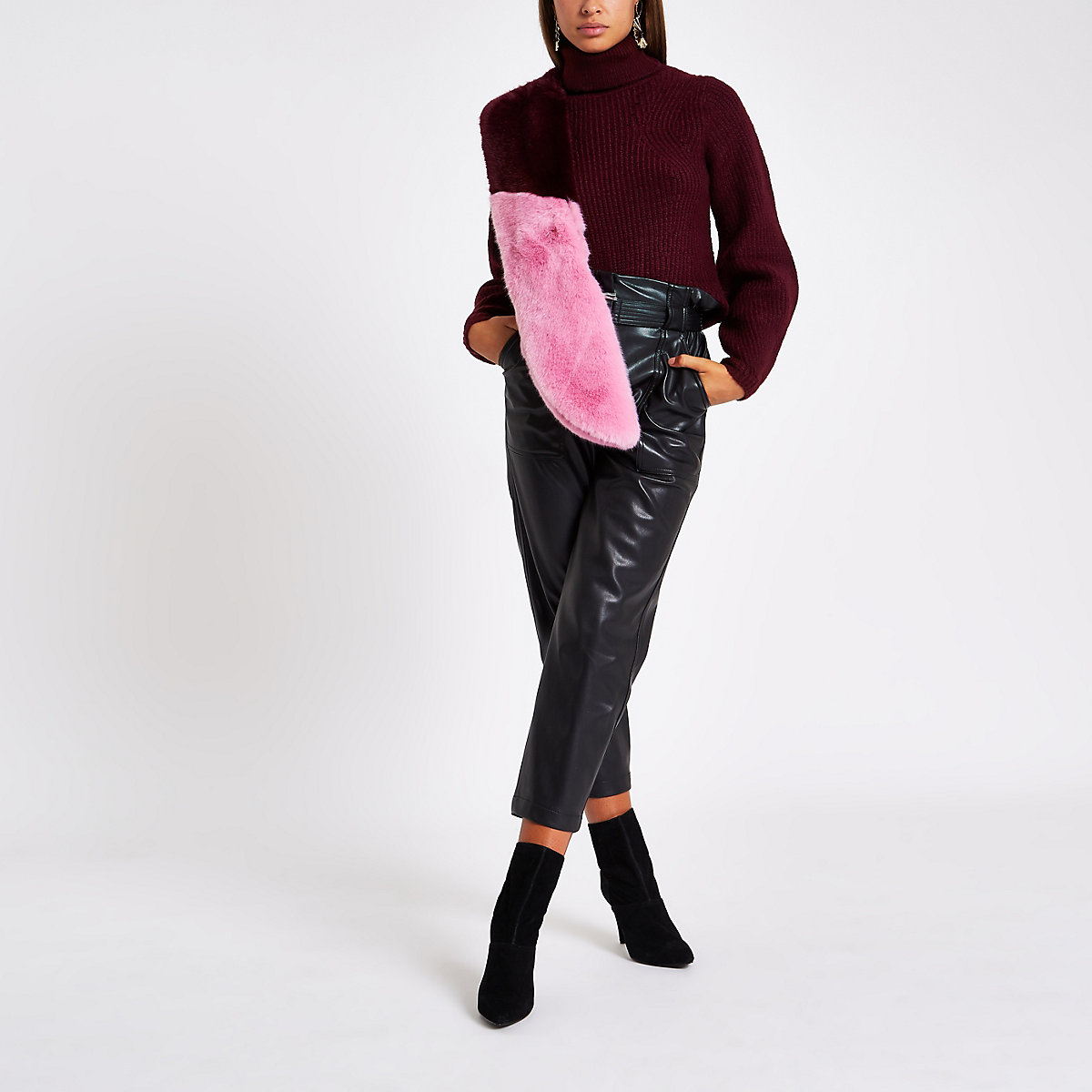 Burgundy knit roll neck sweater