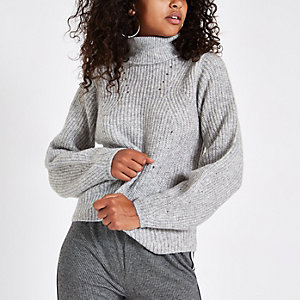 Grey knit roll neck jumper