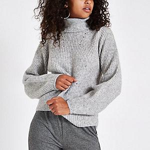 Grey knit roll neck jumper