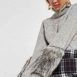 Grey knit faux fur trim roll neck jumper