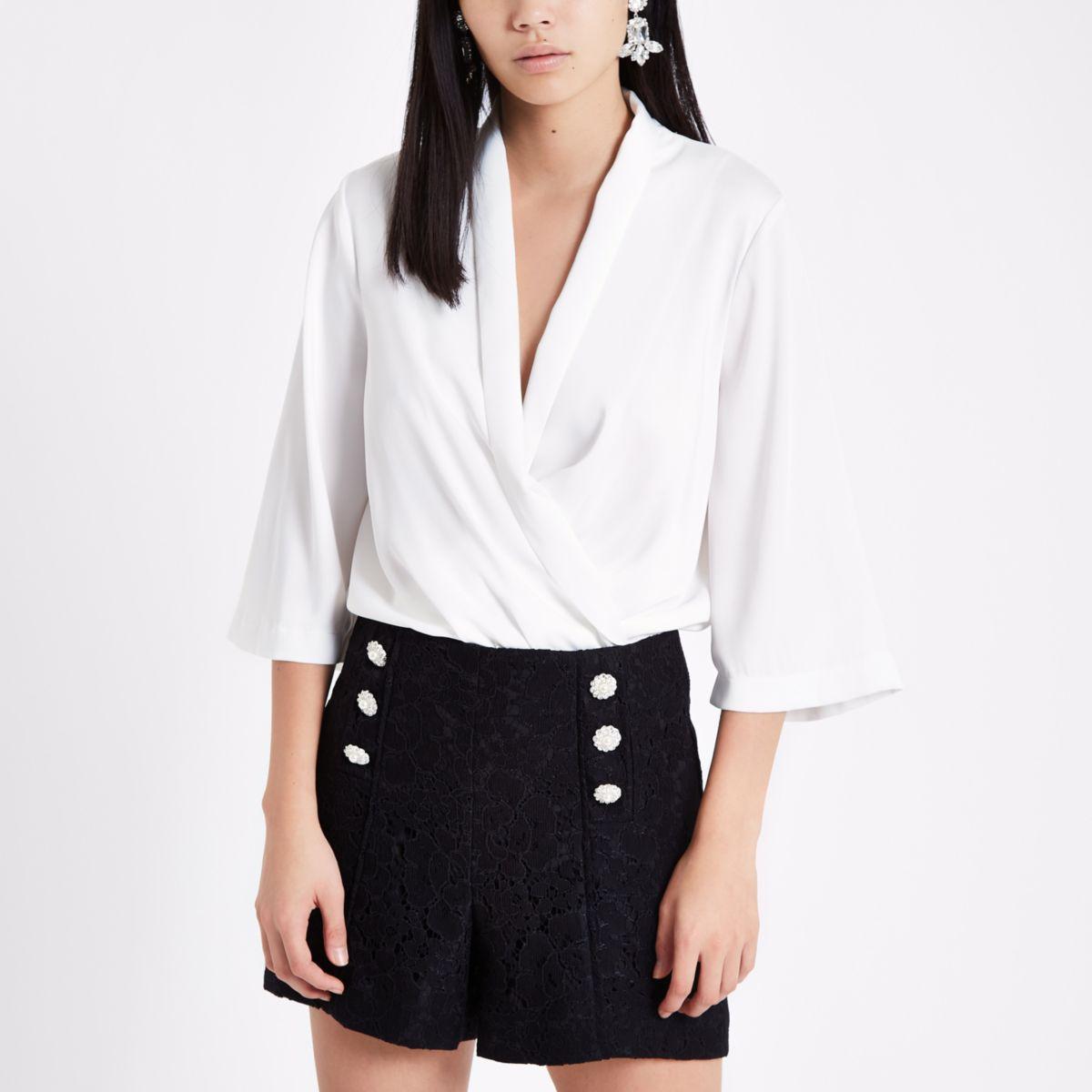 Black lace button detail shorts