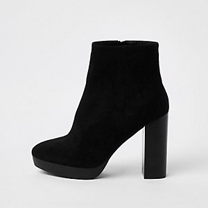 Black faux suede wide fit platform boots