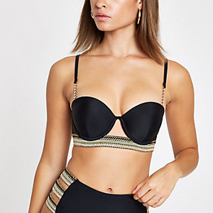Black metallic trim balconette bikini top