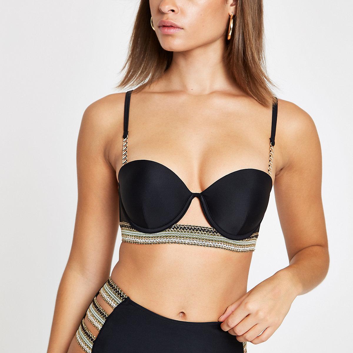 Black metallic trim balconette bikini top