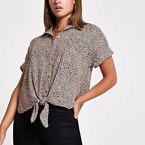 Crème overhemd met luipaardprint en strik voor