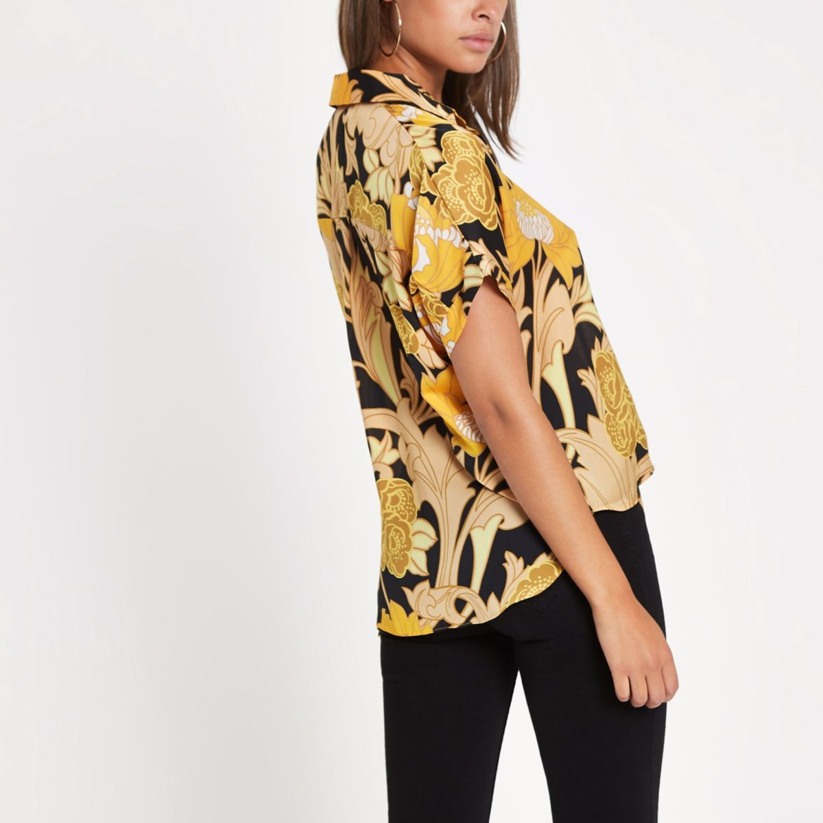 shirt tie printed Yellow floral front AqTppI