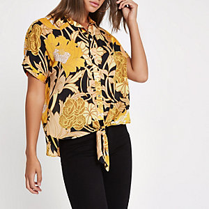 Yellow floral printed tie front shirt