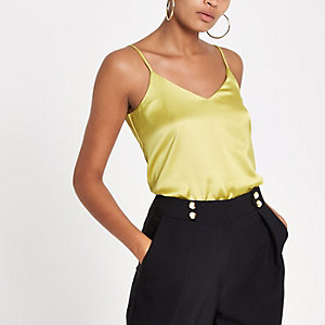 Yellow cross back strap cami top