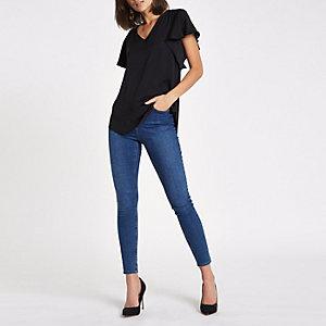 Black V neck loose fit blouse
