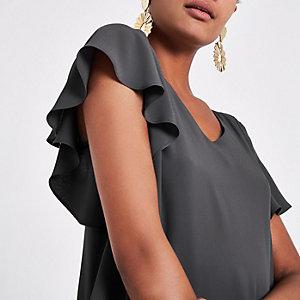 Dark grey V neck loose fit blouse