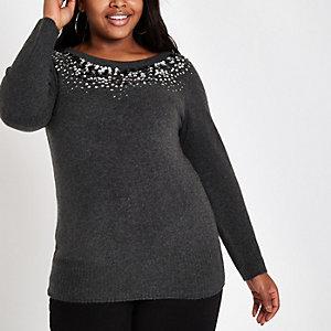Plus – Dunkelgrauer, paillettenverzierter Pullover