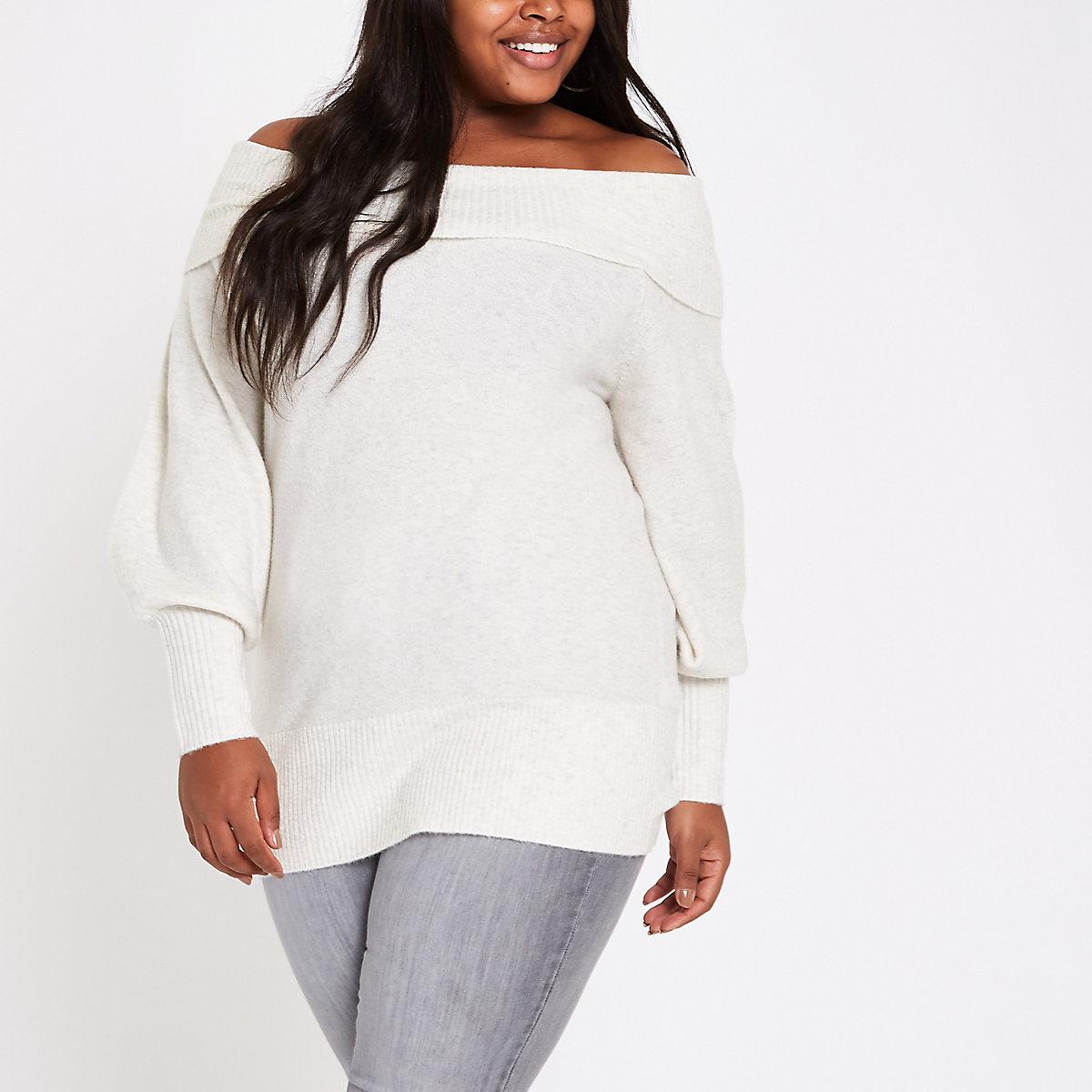 Plus cream knit bardot jumper