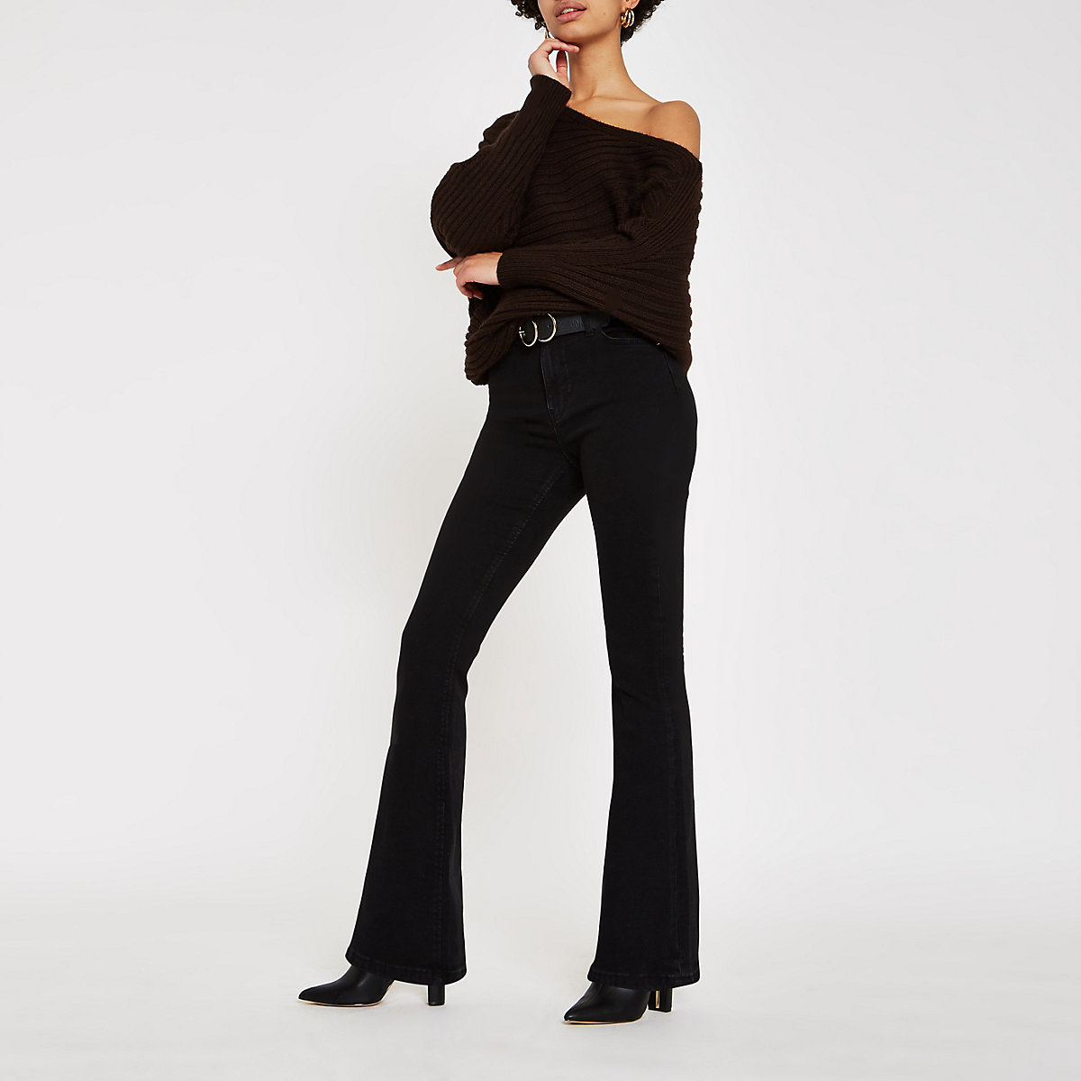 Black high rise flared jeans