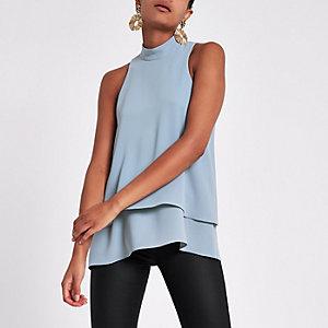 Grey halter neck double layer blouse