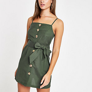 Green button detail tie waist beach dress