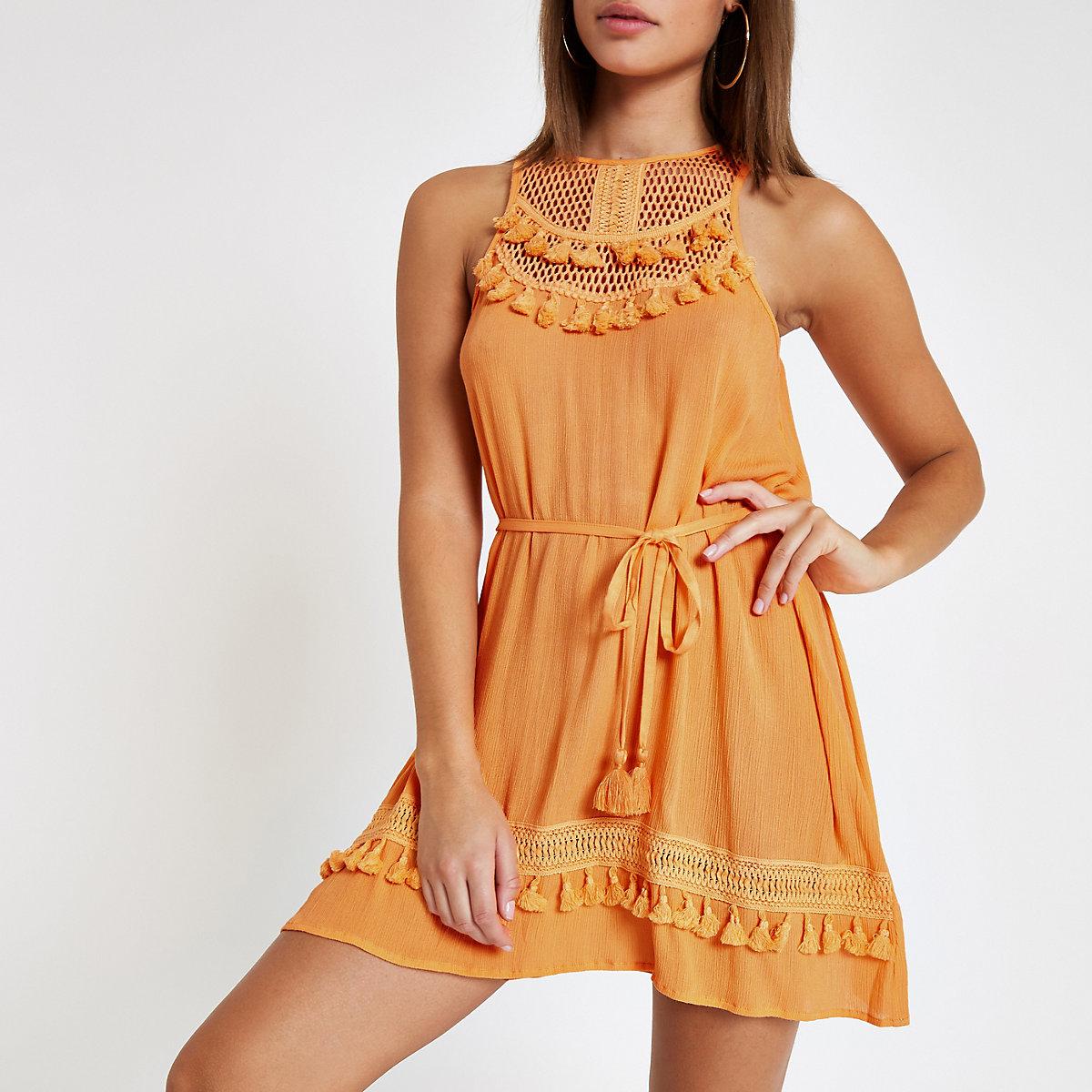 Orange tassel trim beach dress