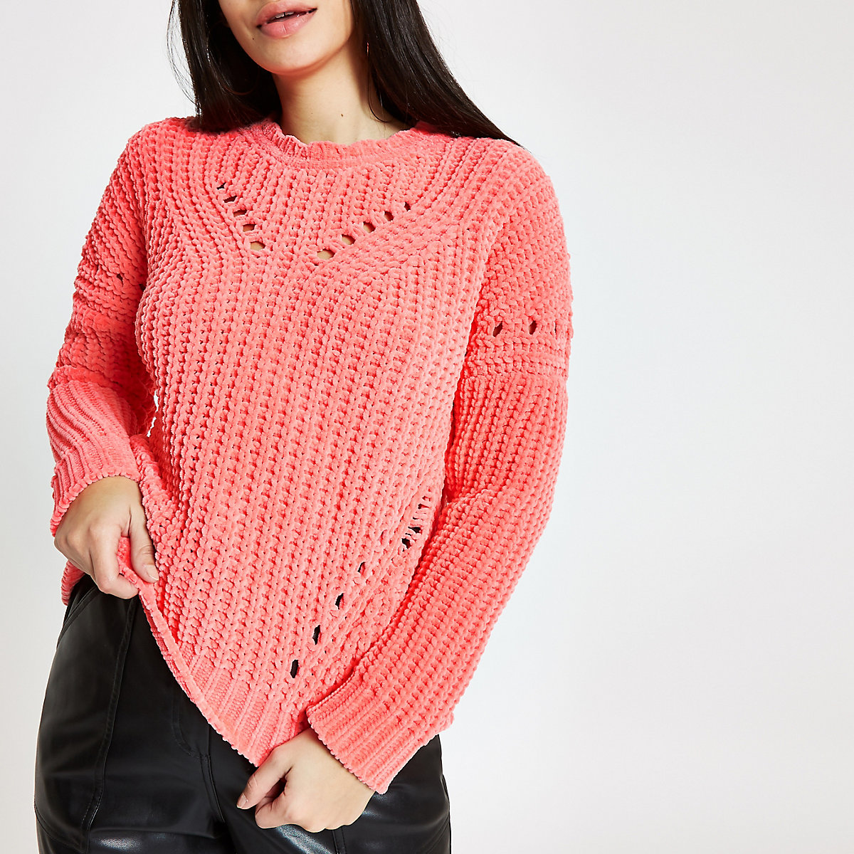 Bright pink knit chenille jumper