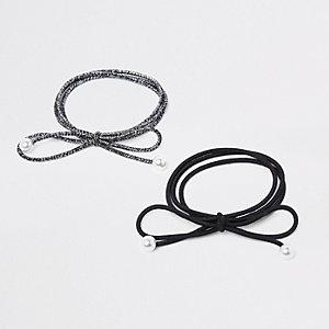Lot d'élastiques noirs avec perle
