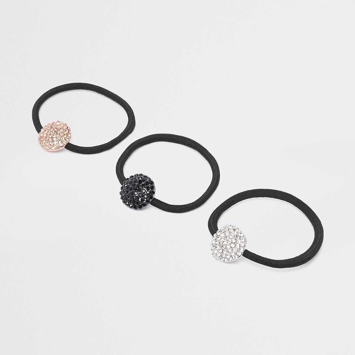 Set zwarte haarbandjes met stras