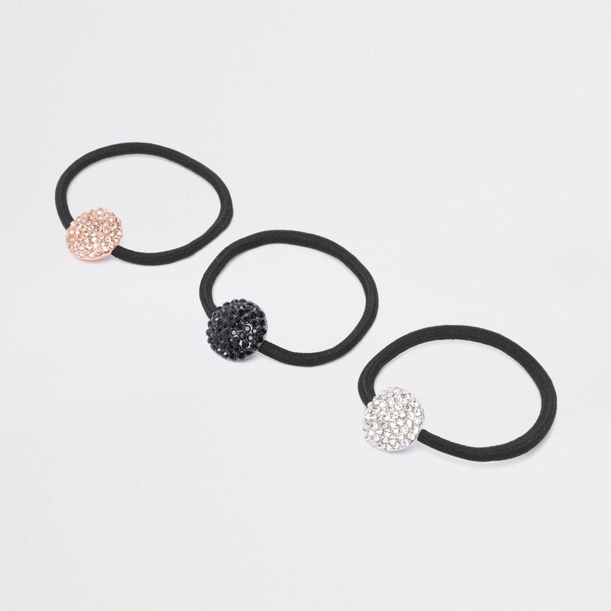 Black diamante hair tie pack