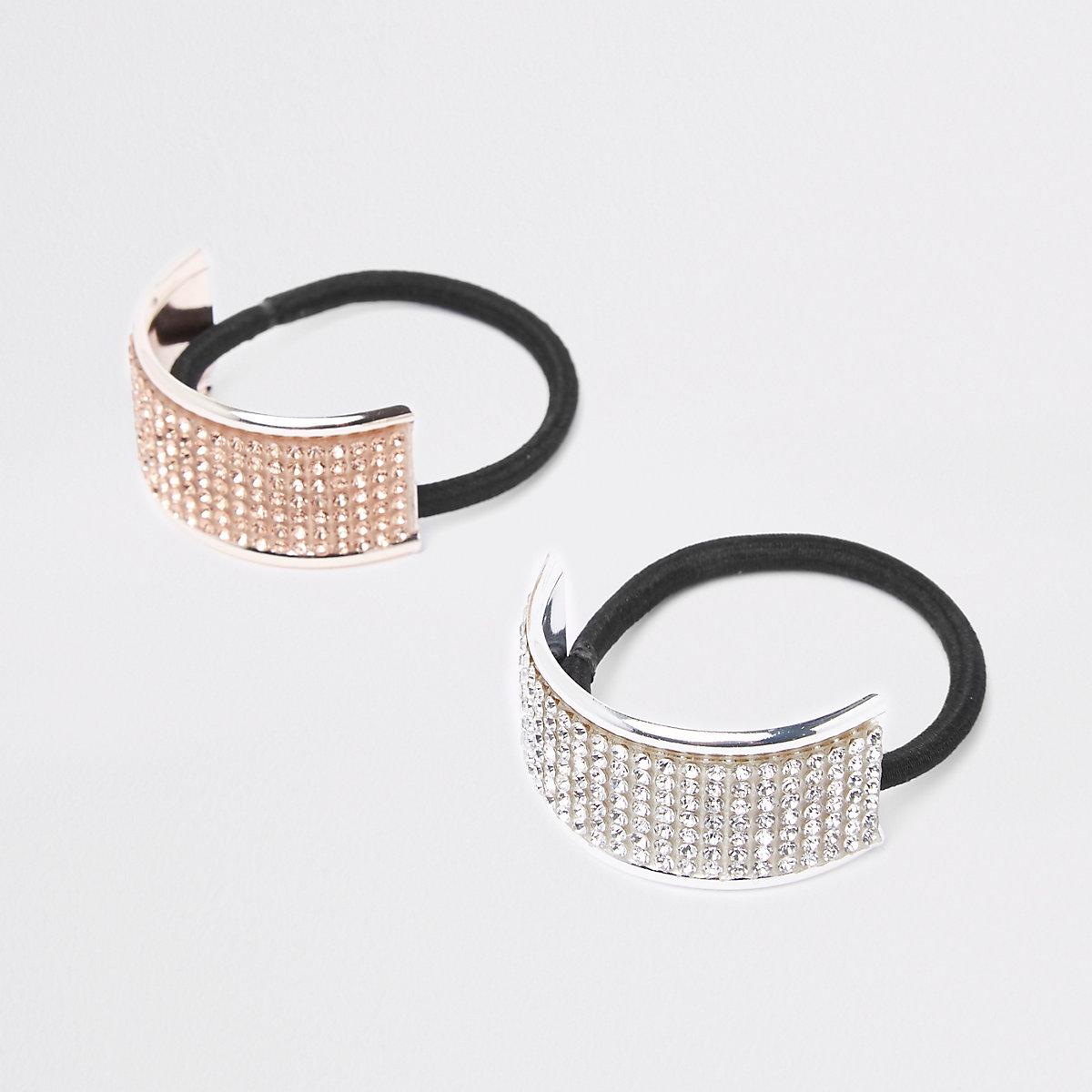 Black diamante cuff hair tie pack