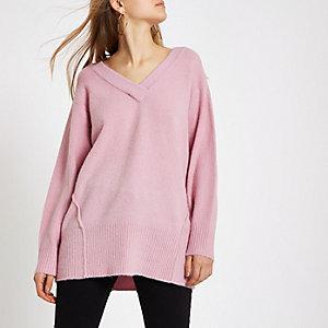 Pink knit V neck sweater