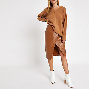 Tan knit V neck sweater