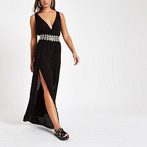 Black plunge rhinestone waist beach jumpsuit