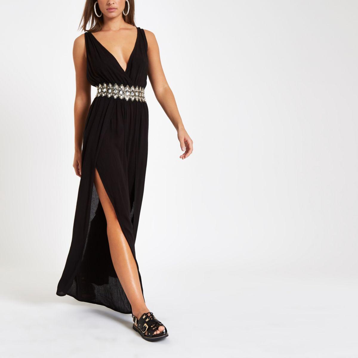 Black plunge diamante waist beach jumpsuit