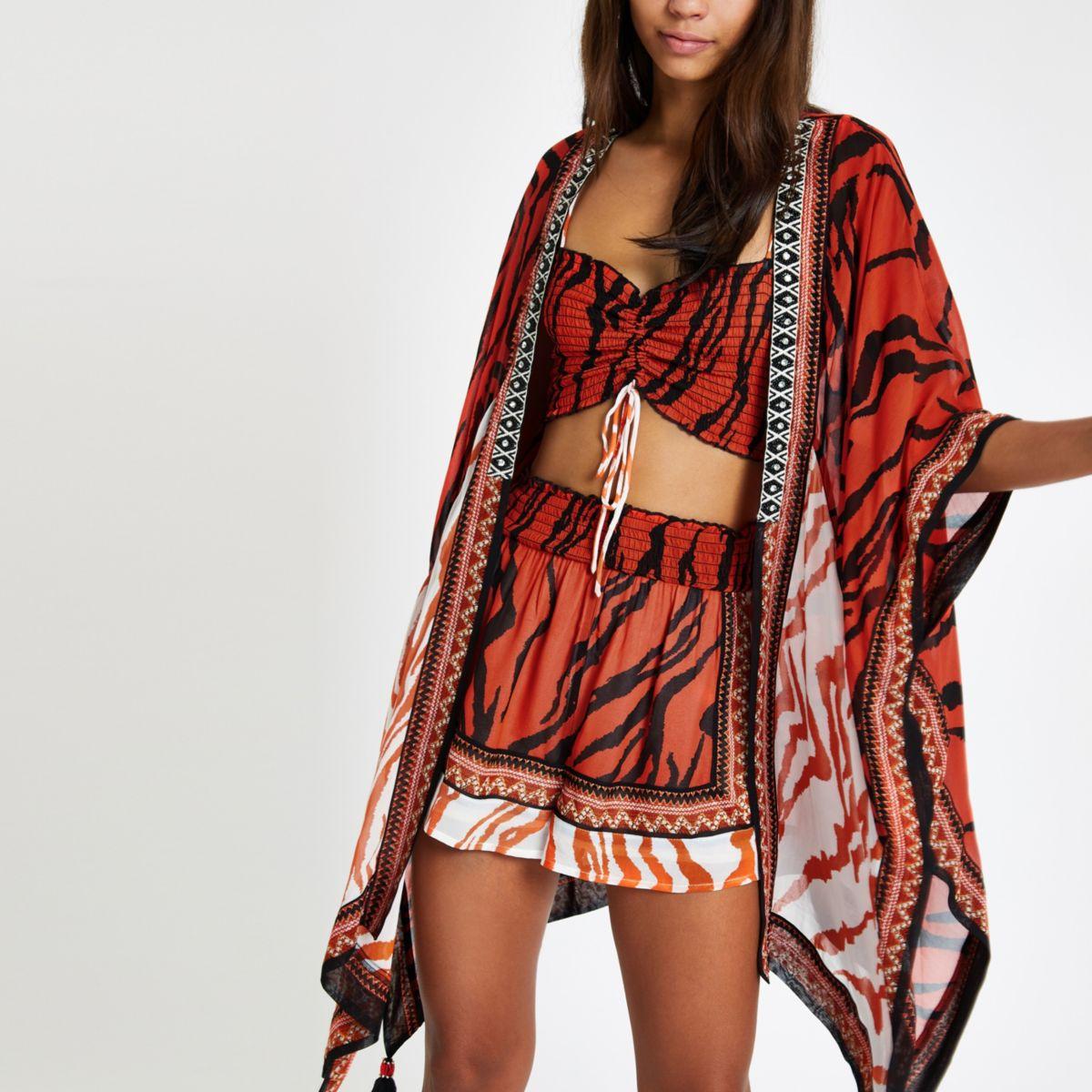 Red zebra print embellished kimono