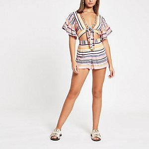 Pinke, gestreifte Strand-Shorts