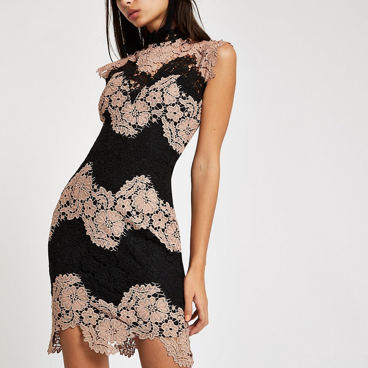 Forever Unique black nude lace bodycon dress