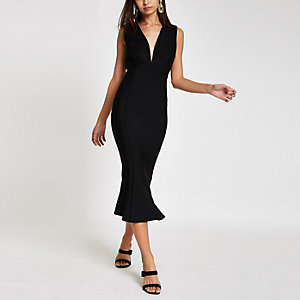 Forever Unique – Schwarzes, mittellanges Bodycon-Kleid