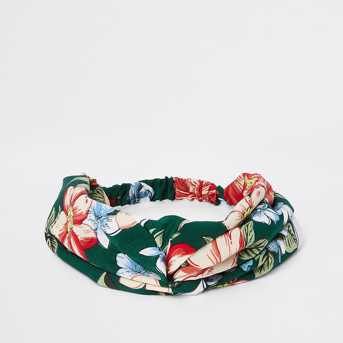 Green floral print twist headband