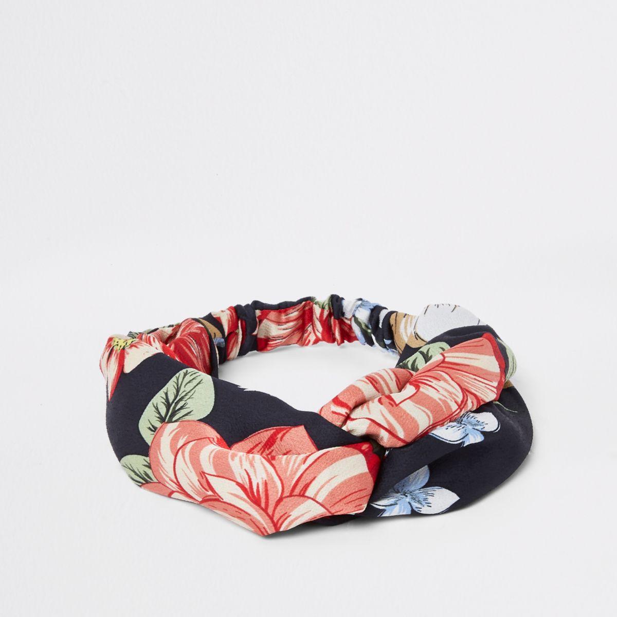 Navy floral print twist headband